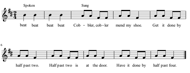 Cobbler, Cobbler musical notation