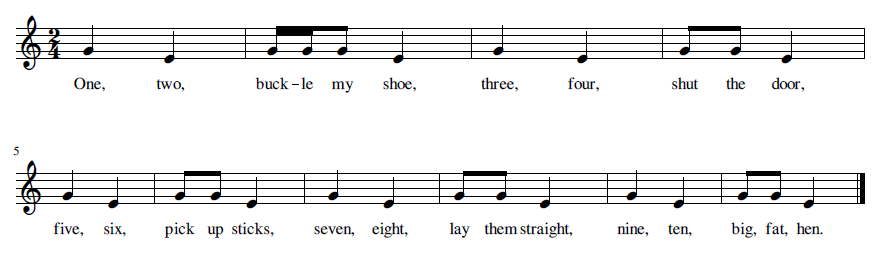 One, Two, Buckle My Shoe musical notation